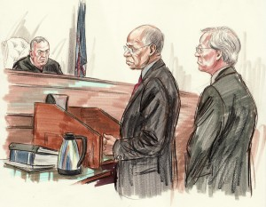 Jefferson stands next to attorney Robert Trout during sentencing/Sketch by Art Lien/NBC News