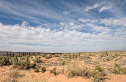 Border fence along Juarez-El Paso border/istock photo