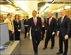 Demarest (far right) with Pres. Obama and FBI Dir. Robert Mueller/fbi photo