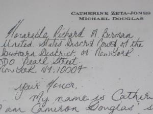 Letter from Catherine Zeta-Jones