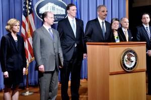 Atty. Gen Eric Holder at podium/doj photo
