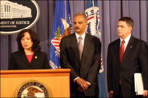 DEA's Michele Leonhart,  Atty. Gen. Holder and FBI's Kevin Perkins at press confernce/doj photo