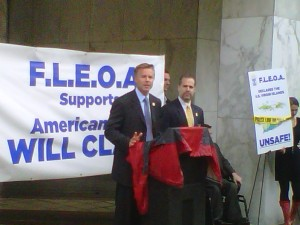 Rep. Chris Lee at press conference