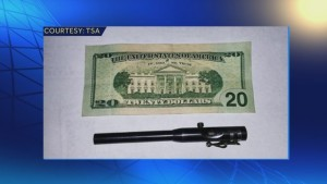 A pen gun confiscated by airport security, via TSA.