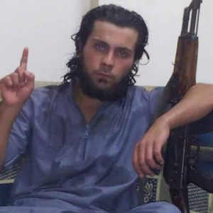 The unidentified Syrian fighter accused of killing his mother.