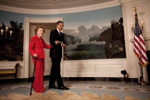 President Barack Obama escorts former First Lady Nancy Reagan in the Diplomatic Room of the White House June 2, 2009.  (Official White House Photo by Lawrence Jackson) This official White House photograph is being made available for publication by news organizations and/or for personal use printing by the subject(s) of the photograph. The photograph may not be manipulated in any way or used in materials, advertisements, products, or promotions that in any way suggest approval or endorsement of the President, the First Family, or the White House.Ê