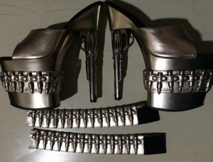 Bullet-lined shoes discovered at an airport checkpoint. Photo by TSA.