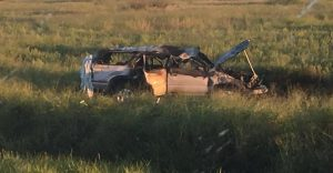 This is the remains of the SUV that crashed, via Homeland Security.