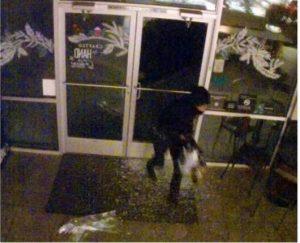 Suspect in vandalism of a Starbucks store in Albuquerque.