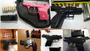 Firearms discovered by the TSA during the holiday travel period. Photo via TSA.