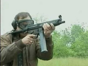 A Heckler & Koch MP5 10 mm, shown here, was stolen from the agent's car.