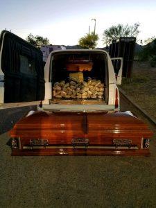 Marijuana was found inside this coffin. Photo via Border Patrol.