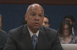 Former Homeland Security Director Jeh Johnson testifies before the House Intelligence Committee.