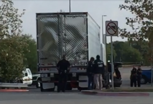 Tractor trailer found with 39 people packed inside at a Walmart parking lot in Texas.