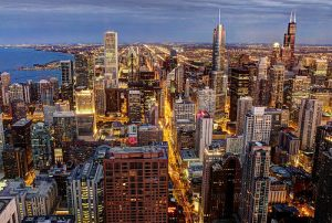 Chicago cityscape, via Allen McGregor on Wikipedia.