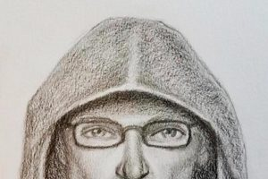 FBI sketch of person of interest in the bombing of a post office in Indiana.